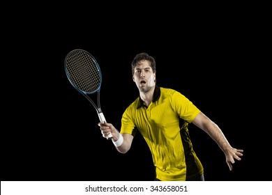Tennis player with a yellow shirt, playing on a black background.