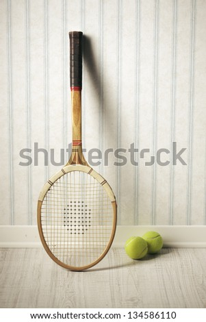 Tennis Racket And Balls Against A Vintage Wallpaper
