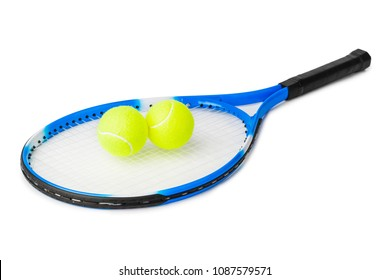 Tennis racket and balls isolated on white background