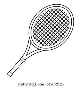 Tennis racket icon. Outline illustration of tennis racket  icon for web