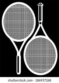 tennis racket isolated on black background