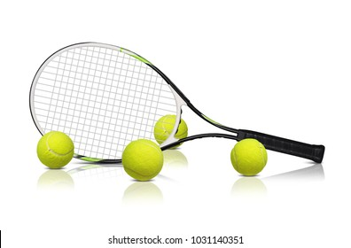 Tennis rackets and ball isolated on white background