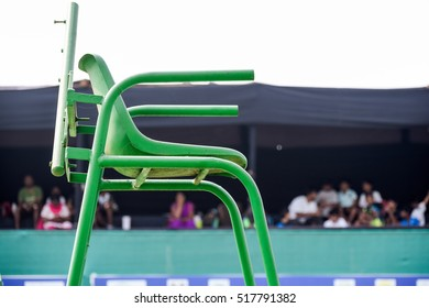 Tennis referee chair green color background audiance gallery