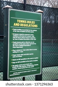 tennis rules regulation sign on public town tennis courts Bedford, New York
