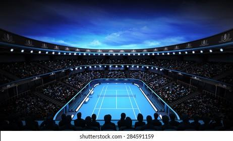 tennis stadium with night sky and spotlights sport theme render illustration background own design