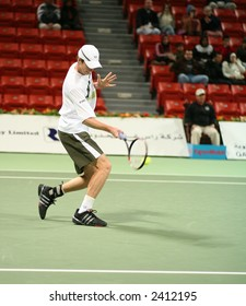Tennis star Andy Murray of Scotland, during the 1st round of the Qatar Open, Doha Jan 1, 2007
