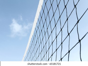 Tennis or volleyball net against blue sky