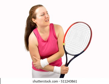 tennis woman player with elbow injury holding the racket isolated over white background