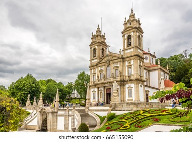 TENOES,PORTUGAL - MAY 14,2017 - Sanctuary Bom Jesus do Monte in Tenoes near Braga in Portugal.The Sanctuary is a notable example of pilgrimage site with a monumental, Baroque stairway.