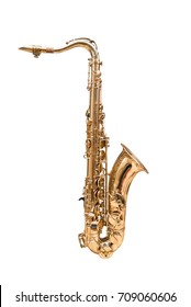Tenor Saxophone isolated on a white background.