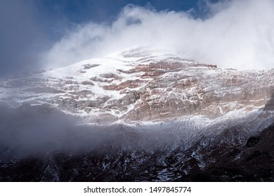 The tense calm caused by the height at which the giant Chimborazo volcano rises in Ecuador, photo taken in 2019