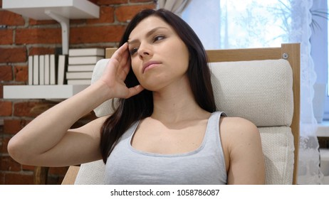Tension and Headache, Frustrated Woman with Stress of Work