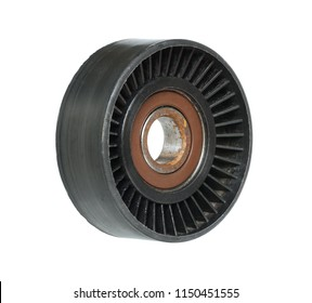 Tensioner roller of engine belt isolated on white background