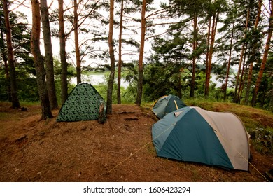 Tent camp in the forest near the lake Seliger.