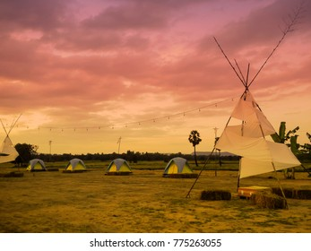 tent camping with beautiful sunset