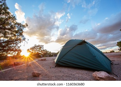 Tent in the camping of Canyonlands National park in Utah, USA
