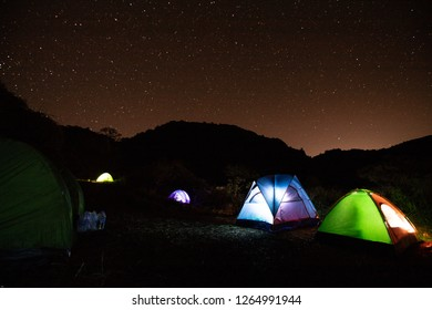 Tent camping, many colors are spread amidst the natural forest There is a mountain background and many stars.