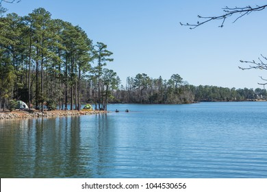 Tent camping on the blue waters of Lake Murray in South Carolina