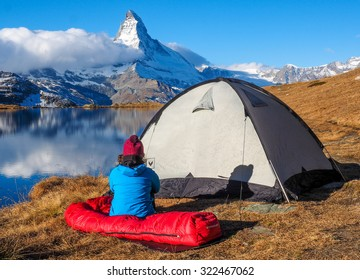 tent and camping in swiss alps