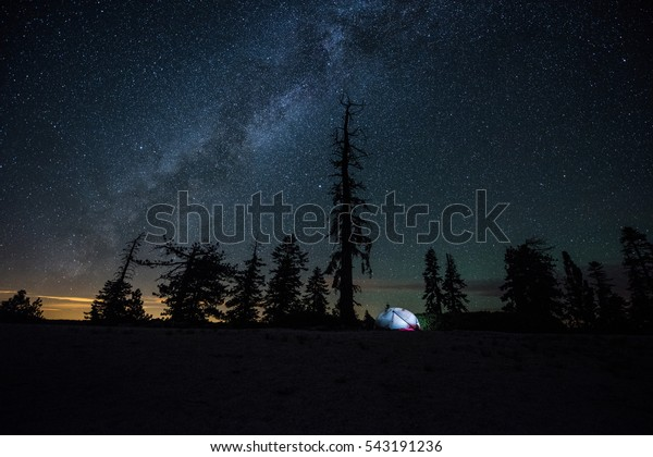 Tent camping under a starry night with a clear view of the Milky Way in Yosemite National Park, California.