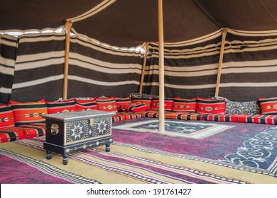 Tent desert camp Wahiba with wooden chest in Oman