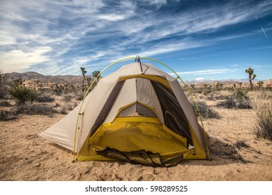Tent in a desert landscape in Joshua Tree National Park, USA