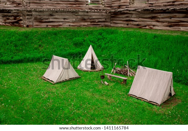 A tent encampment outside the wall of Fort Stanwix in Rome, New York