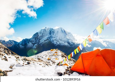 Tent in the Everest base camp. Mountain peak Everest. Highest mountain in the world. National Park, Nepal.