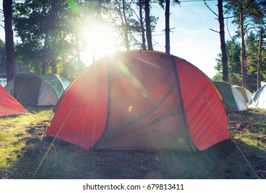 Tent in the forest. Camping. Healthy tourism