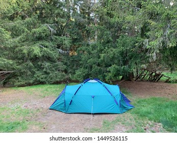 Tent in a French Pyrenees forest landscape