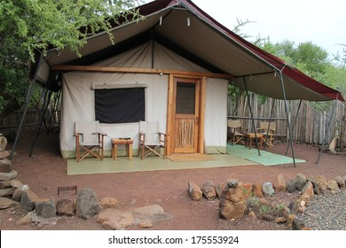 A tent in the jungle is typical of temporary housing while on Safari in Kenya, east Africa