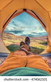 Tent lookout in Sweden on the Kungsleden Hiking-Trail