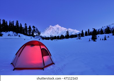 Tent and mt shuksan at night in winter