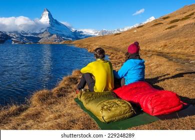 Tent near Matterhorn during early morning with relfection in StelliSee, Zermatt, Switzerland