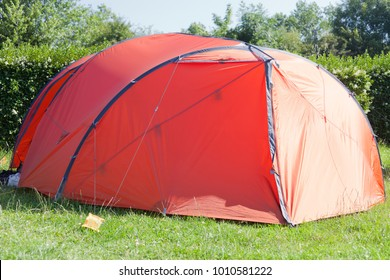 Tent on meadow