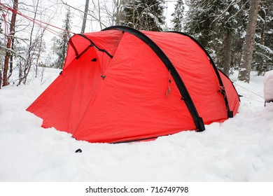 Tent in the snow, lapland in winter