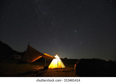 Tent with starry sky