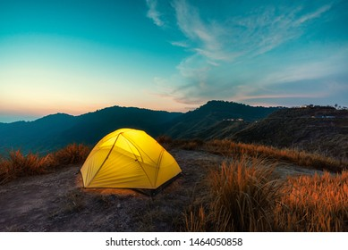 Tent of Travelers on mountain in the morning Thailand novel photo in post processing.