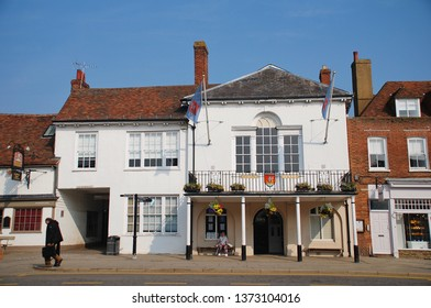 TENTERDEN, ENGLAND - APRIL 17, 2019: The historic Town Hall in the Kent town of Tenterden. The High Street building dates from 1790.