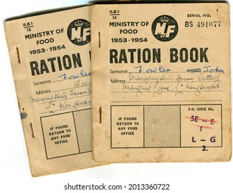 TENTERDEN, ENGLAND - JULY 23, 2021: A pair of British food ration coupon books. Introduced in 1940 during the Second World War, rationing was ended in 1954.
