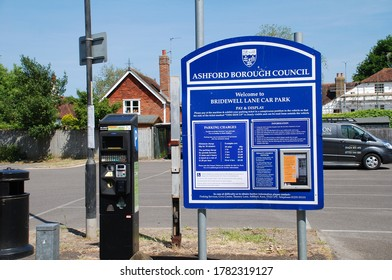 TENTERDEN, ENGLAND - MAY 27, 2020: A payment point at the Bridewell Lane public car park. Ashford Council have offered free parking to key workers during the Corona virus lockdown.