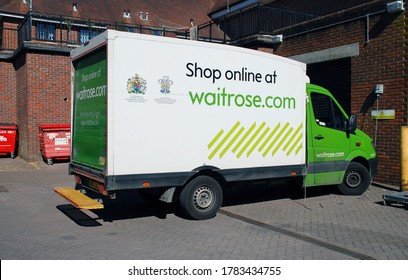 TENTERDEN, ENGLAND - MAY 31, 2020: A Waitrose supermarket home delivery van. The online ordering service currently covers 84% of UK postcodes.