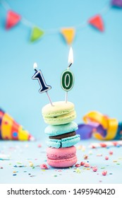 Tenth 10th Birthday Card with Candle in Colorful Macaroons and Sprinkles. Card Mockup.
