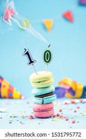 Tenth 10th Birthday Card with Candle Blown Out in Colorful Macaroons and Sprinkles. Card Mockup.
