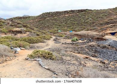 Tents at beach Playa de los Morteros on Canary Island Tenerife, Spain