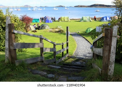 Tents in the camping field outside the Jura Hotel during the Music Festival : Craighouse, Isle Of Jura, Scotland, UK : 22 September 2018 : Pic Mick Atkins