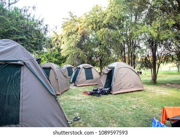 Tents at a camping site at the Okavango Delta in Botswana