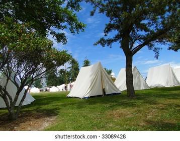 Tents in Confederate camp,   Civil War Battle Re-enactment,  Port Gamble, WA