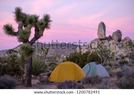 Tents in Joshua Tree National Park at Sunset & Tents Joshua Tree National Park Sunset Stock Photo (Edit Now ...