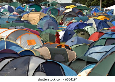 Tents on a music festival campsite